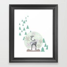 Reindeer Snowglobe Framed Art Print