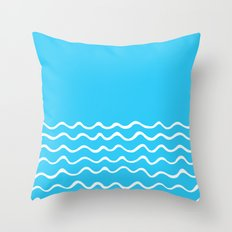 Simple aqua and white handrawn waves 1 - for your summer on #Society6 Throw Pillow