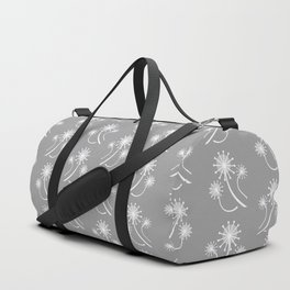 Modern Dandelions in Gray and White Duffle Bag
