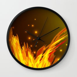 A bonfire with tongues of flame and sparks for the design of summer night ideas. For postcards and f Wall Clock
