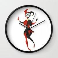 harley quinn Wall Clocks featuring Harley Quinn by Taryn Knight