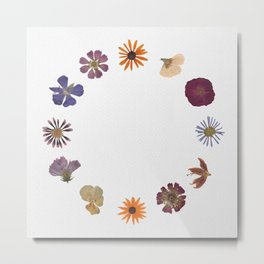 Flowers for Hours Botanical Collage  Metal Print