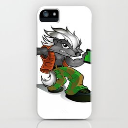honey Badger Cartoon with cell phone iPhone Case