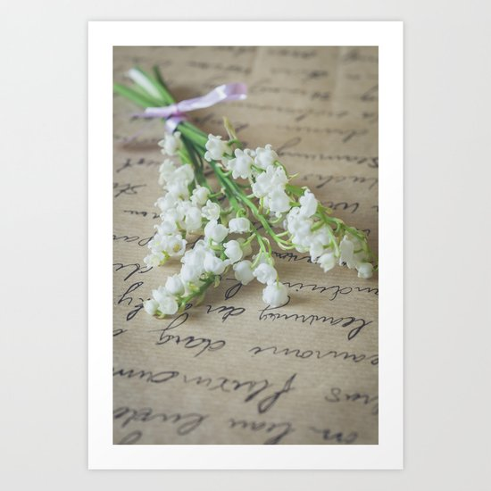 Love letter with lily of the valley Art Print