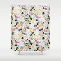 bees Shower Curtains featuring Bees by Yellow Button Studio