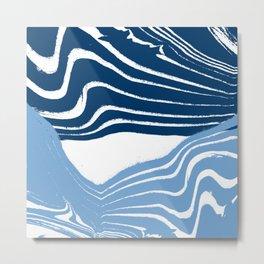 suminagashi spilled ink watercolor painting navy painterly abstract art Metal Print