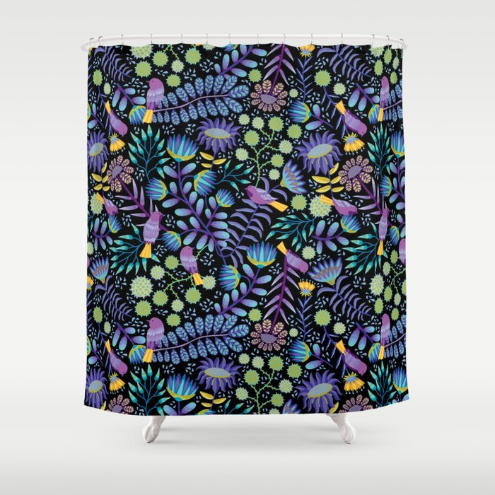 Thistle Garden - Dark Shower Curtain