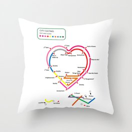 Map and Guide to Dating (font in-store blurred to prevent plagiarism) Throw Pillow