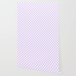 Large Chalky Pale Lilac Pastel Color and White Checkerboard Wallpaper