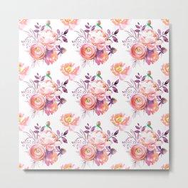 Purple orange pink hand painted watercolor roses Metal Print