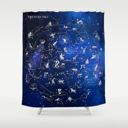Northern Sky Constellations Map Shower Curtain