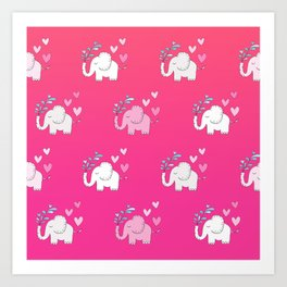 Elephant Love Walk Pink Art Print