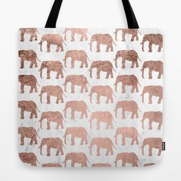 Modern faux rose gold elephants white marble Tote Bag
