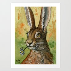 Funny Rabbits - One daisy for you 488 Art Print