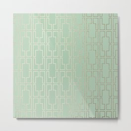 Simply Mid-Century in White Gold Sands and Pastel Cactus Green Metal Print