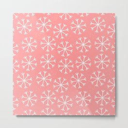 Modern hand painted coral white Christmas snow flakes Metal Print