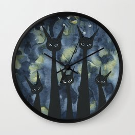 Norwich Whimsical Black Cats Wall Clock