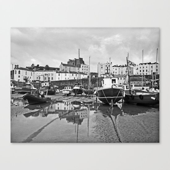 Tenby Harbour Boats.Pembrokeshire.B+W. Canvas Print