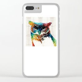 Colorful Owl Art - Wise Guy - By Sharon Cummings Clear iPhone Case