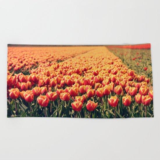 Tulips field #6 Beach Towel