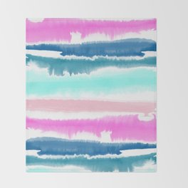 Modern hand painted watercolor pink blue stripes pattern Throw Blanket