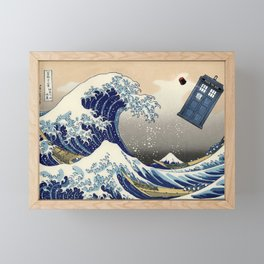 TARDIS at Kanagawa Framed Mini Art Print