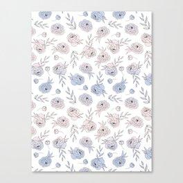 Serenity and Rose Quartz Peonies Canvas Print