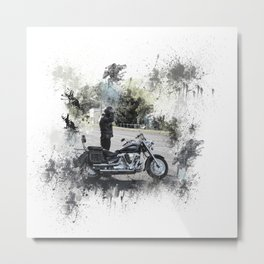 Biker near motorcycle on white Metal Print