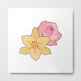 Pink Rose & Day Lily Metal Print