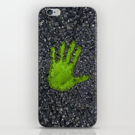 Carbon handprint / 3D render of modern city with handprint shaped park iPhone Skin