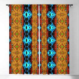 Blue Gold Ribbon  Snake Skin Fractal Blackout Curtain