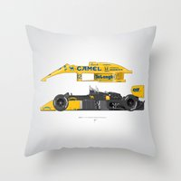 senna Throw Pillows featuring Outline Series N.º5, Ayrton Senna, Lotus 99T-Honda, 1987 by Ricardo Santos