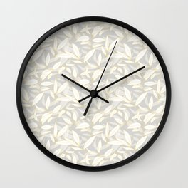 Olive tree leaves - yellow and grey Wall Clock