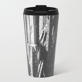 cactus with wooden fence background in black and white Travel Mug