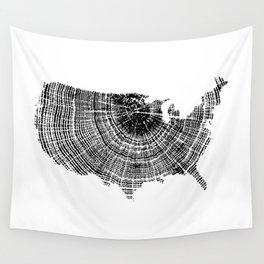 United States Print, Tree ring print, Tree rings, US map, Wood grain Wall Tapestry
