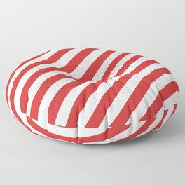Red and White Candy Cane Stripes, Thick Angled Lines Festive Christmas Floor Pillow