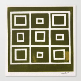 Hollywood Squares - Olive Canvas Print