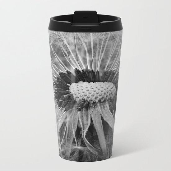 Dandelion Black and White Photography | Nature Art | Plant | Botanical | Wish Metal Travel Mug