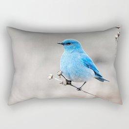 Mountain Bluebird on the Tansy Rectangular Pillow