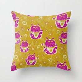 Oriental happy lucky cats Throw Pillow