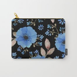 Blue flowers with black Carry-All Pouch