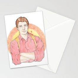 Malcolm 'Mal' Reynolds of Firefly Watercolor Portrait Illustration Stationery Cards