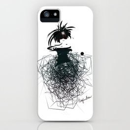 Fashion model on the catwalk in little black dress and net skirt iPhone Case