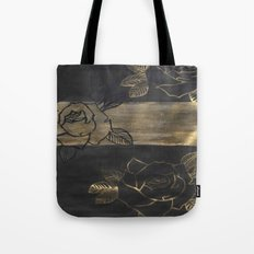 Feminine, Grung Print. Black and Gold Roses. Tote Bag