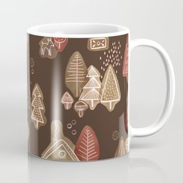 Hansel and Gretel Fairy Tale Gingerbread Pattern on Brown Coffee Mug