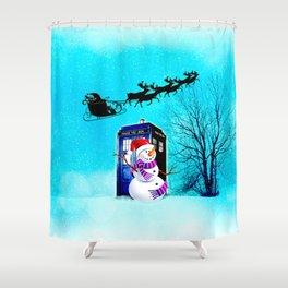 Tardis Christmas Shower Curtain