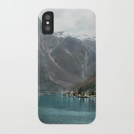 Village by the Lake & Mountains iPhone Case