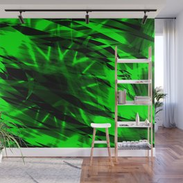Glowing exploded background of fresh grass and flowing lines and stars. Wall Mural