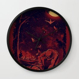 Night at the Origami Garden Wall Clock