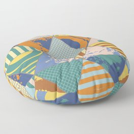 Multi Patterned Geometric Triangles Floor Pillow